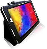 Acer Iconia One 8 (B1-810) 8 inch Multi-Angle 'Pen' Case with Stand Function and 2 in 1 Stylus / Biro Pen by LuvTab® (BLACK)