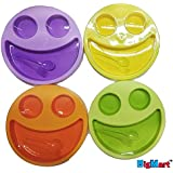 Cute And Attractive Round Multicolor Smiley Face Plates Dish With Fork And Spoon / Doodle Plate / Breakfast Plates / Baby Fun / Return Gift / Birthday Gifts (Not Toxic Hygienic Plates) || By BigMart™ || (PACK OF 4)