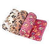 ZHJZ Lettiera per Cani Corallo in pile Morbido caldo per animali domestici in pile Coperta Cuscino per tappetino (104 * 76CM, 3 pezzi, rosa/bianco/rosa)