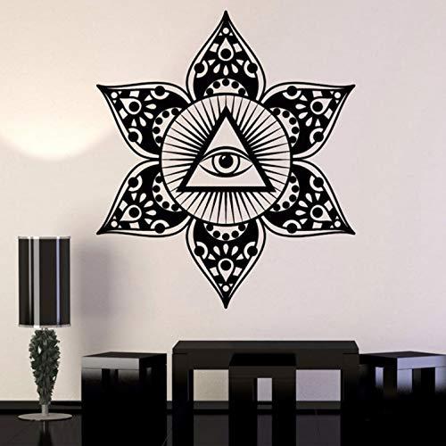 qwerdf Wand An Der Vorsehung Der Vinyl-wandpaste Augen Siehe Freimaurersymbol Sticker Mandala Blume. Yoga Kunstdekoration Im Wohnzimmer 66 * 57cm