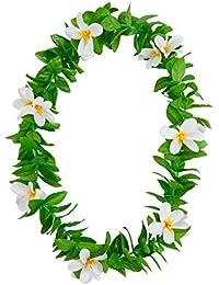Hawaiian Green Leaf Lei White Flower Garland Fancy Dress Accessory Summer Beach Party