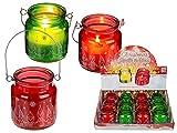 MC Trend Weiße Kerze im Glas mit silberfarbigem Weihnachts/Wichtel-Dekor & Metallbügel Windlicht Geschenk (12er Set / 2-farbig Sortiert)