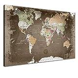 LANA KK Weltkarte Leinwandbild mit Korkrückwand zum Pinnen Der Reiseziele Deutsch Kunstdruck, Braun/Bunt, 150 x 100 cm