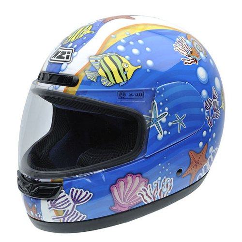 NZI 050268G407 Class Jr Scribble Casco de Moto, Peces de Colores, Talla 57 (M)