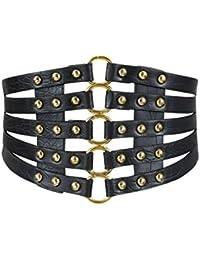 Oyccen Retro Hueco Cinturón Ancho Elástica Vestido Decoración Faja  Cinturones Corsé b56c68c5ac33