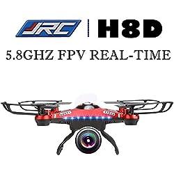 SYMA X5UW Quadcopter Drone RC FPV 5.8G Real-time Modo Sin Cabeza 6 Axis Gyro U74W Luz de Noche LED (Cámara 720P, 4 Canales, 2.4GHz, 360 grados) con Contro Remoto (Rojo) (EU STOCK