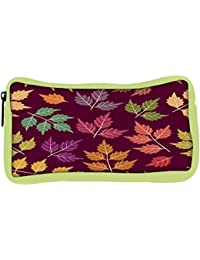 Snoogg Eco Friendly Canvas A Seamless Pattern With Leaf Student Pen Pencil Case Coin Purse Pouch Cosmetic Makeup... - B0774WKWHV