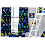"""Curtains 66"""" x 72"""" Dinosaurs In the Dark with Tie Backs"""