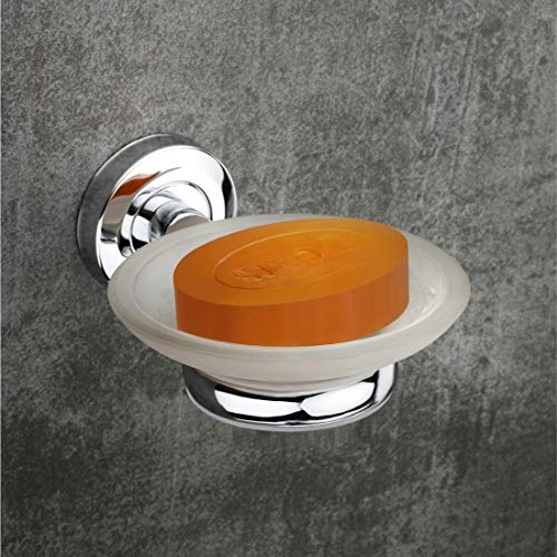 Brocca Stainless Steel and Glass Bathroom Wall Mounted Soap Dish with SS Holder