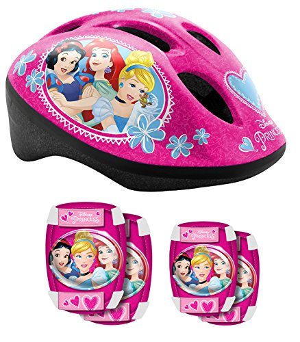 Stamp Sas Helmet + Elbow + Knee Pads Princess, Niñas, Pink, 53/56 Cm