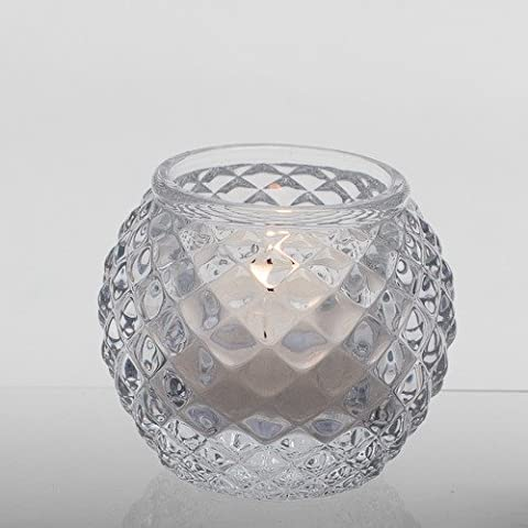 Richland Modern Chunky Glass Lattice Candle Holder Set of