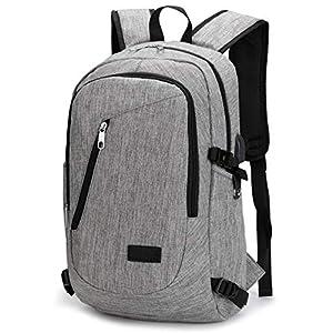 51MGf1L7rlL. SS300  - Mochila para Portátiles, Computadora Backpack para Trabajo, Diario, Ocio, Universitario, con Puerto De Carga USB (Gris)