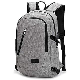Mochila para Portátiles, Computadora Backpack para Trabajo, Diario, Ocio, Universitario, con Puerto De Carga USB (Gris)
