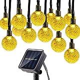 budbuddy 30er LED Solar Globe Garten Lichterkette Außen Kristall 6.5 Meter, Solar Kugel Beleuchtung für Party, Outdoor, Fest Deko usw (warmweiß)