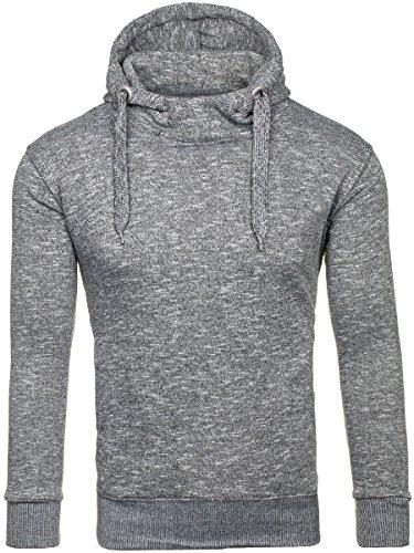 BOLF Herren Kapuzenpullover Sweatshirt Hoodie Basic Sport Style Mix 1A1 Grau (Dunkel)_7033