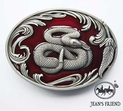 Klapperschlange Kostüm - napolo Western Buckle Belt Cowboy gurtelschnallen New Schlange Klapperschlange rot Silber