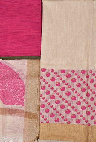 Exotic India Ivory Banarasi Salwar Kameez Fabric with Woven Bootis and Golden...