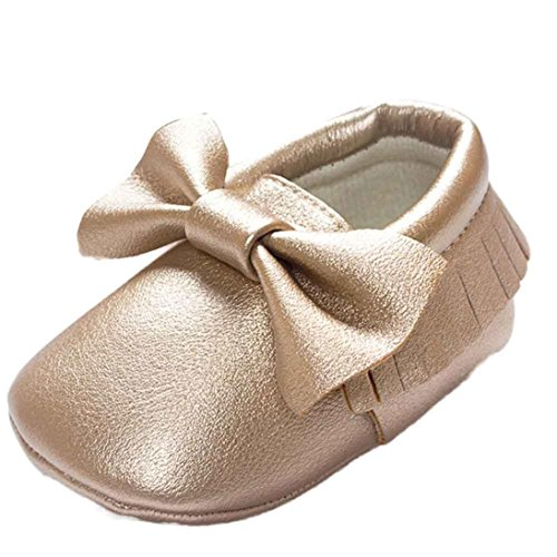 Baby Schuhe Sonnena Kinderbett Quasten Schleife Schuhe Kleinkind Sneakers Casual rutschfeste Schuhe, 0~ 18Monate 6~12M gold (Walking-schuh Walker 6)