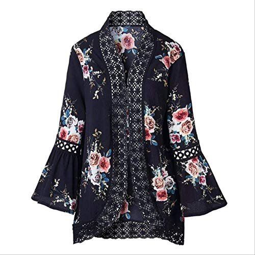 CHZDCS Summer Women Lace Flare Sleeve Floral Print Cardigan Elegant Hollow Out Sweaters Coat Tops Cover Up Patch Work Beachwear XXXL Blue (Blue Top Print Floral)