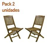 Pack 2 sillas jardín teca plegables | Madera teca grado A | Tamaño: 51x55x90 cm | Tratamiento al agua aplicado | Portes gratis