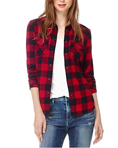 StyleDome Damen Kurzarm Kariert Casual Shirt Bluse Tops Schwarz-Rot