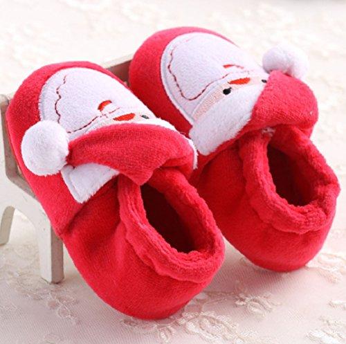Schön Baby Weihnachtsschuhe,Amcool Kleinkind Säugling Neugeboren Weihnachtsmann Weiche Sohle Baby Prewalker Schuhe (4-8 Monatlich, Rot) Rot