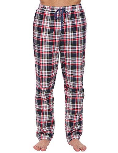 Herren Pyjama Hose Klassisch Kariert Nachtwäsche Lang Freizeithose Baumwolle mit Gummiband, Rot 502, EU 44(Herstellergröße: XXL)