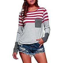 Camiseta de las mujeres Talla extra Suelto Manga larga Casual Camisa de rayas Tops Blusa LMMVP