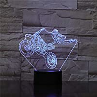 BFMBCHDJ Motorbike Rider 3D Optical Illusion Night Light Motorcycle Dirt Bike LED Light Modern Wall Lamp Freestyle Motorcross Table Lamp