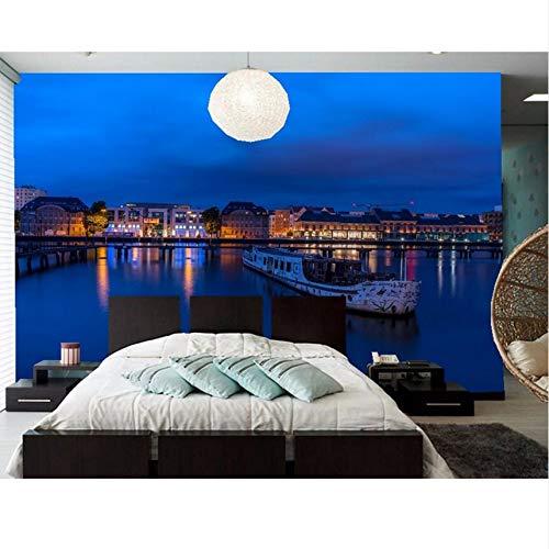 Lifme Benutzerdefinierte 3D Wandbild, Deutschland Berlin Häuser Flüsse Schiffe Sky Night Tapete, Restaurant Wohnzimmer Sofa Tv Wand Schlafzimmer Tapete-280X200Cm