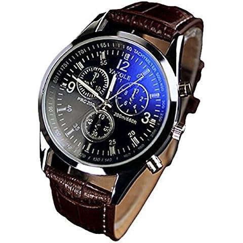 vear Mens businvear Faux cinturino in pelle blu ray in vetro al quarzo orologio da polso, Uomo, brown black, Taglia unica