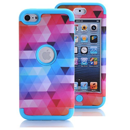 iPod Touch 6 Fall, iPod Touch 5 Fall, Kamii [Colorful Serie] 3 in1 stoßfest Fullbody Schutzhülle Hard PC + Weich Silikon Hybrid Hard Case Cover für Apple iPod Touch 5 6. Generation, Blau (Fällen 3 Camo Ipod)