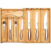 Vassoi Portaposate, Deik Organizzatori di Cassetti, Portaposate in Bambù per Cucina Posate, Estensibile Dimensioni 25,5-53 x 36 x 6 cm, con 3 a 9 Scomparti