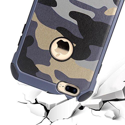 iPhone 7 Plus Coque, Vandot Dur PC Plastique Etui Cool Créatif Design Thermique Induction Housse Décoloration Cover Couverture pour iPhone 7 Plus Plastic Matte Case Anti-Scratch Chocs Résistant Hull S Camo-Bleu Marine