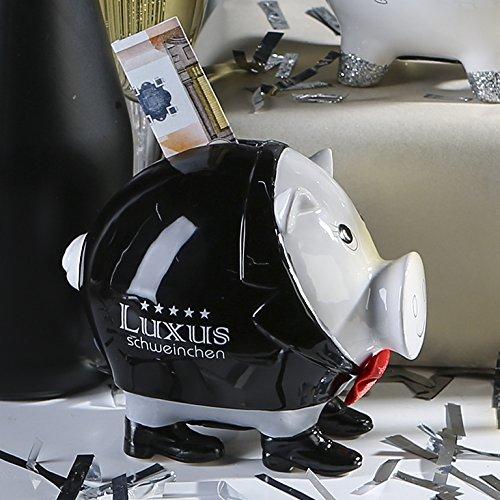 Spardose Gentle Pig Keramik weiß schwarzer Anzug und Schuhe T10cm Sparschwein, Geschenk Mann