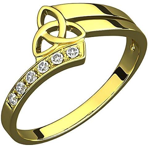 Anello in Argento Placcato Oro 14 carati, Sei Pietre CZ, Nodo Celtico della Trinità