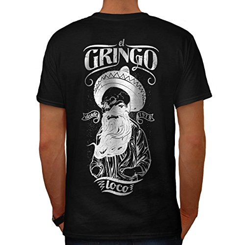 Gringo Bart Schädel Mexiko Leben Herren M T-shirt Zurück | Wellcoda (Zurück Stricken Krawatte Kleid)