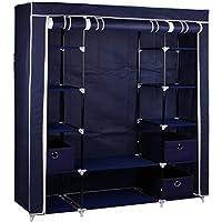 Gr8 Home Armario Grande de Lona para Dormitorio con Barra para Colgar estantería, Armario de Almacenamiento, Metal/Tela, Azul, 135 x 45 x 175 cm