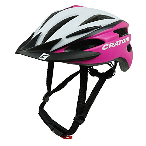 Cratoni Fahrradhelm Helm Pacer. White-Pink Matt - Visier Schwarz. Gr. XS-S (49-55 cm)