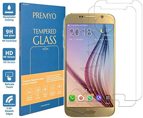 PREMYO 2 Piezas Cristal Templado para Samsung Galaxy S6 Protector Pantalla para Galaxy S6 Dureza 9H Bordes 2,5D Vidrio Lámina Protección Compatible con Samsung S6 Sin Burbujas contra Arañazos