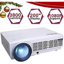 Proyector, WiMiUS Video Proyector 3800 Lúmenes Full HD Soporta 1080P Proyector Cine en Casa 50000