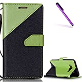 EMAXELERS Galaxy J7 2016 Hülle Dreieck Hit Color Flip PU Leather Leder Schutzhülle Etui mit Kartenfach Standfunktion Telefon-Kasten für Samsung Galaxy J7 2016,Green Hit Color