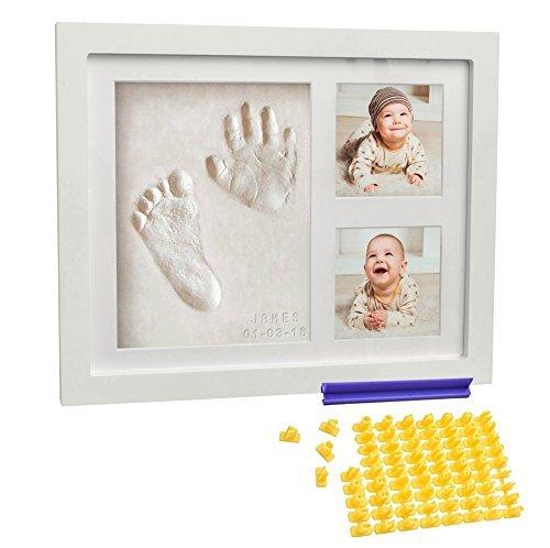 Co Little Baby Hand- und Fußabdruck-Set (Datums- und Namensstempel), Handabdruck, für Neugeborene, Geschenk für Mutter und Mädchen, mit weißen Füßen