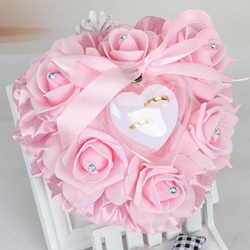 LLLucky Herzform Rose Ring Box Hochzeit Strass Ringkissen Ehering Dekokissen Rosa (Western-stil Hochzeit Ringe)