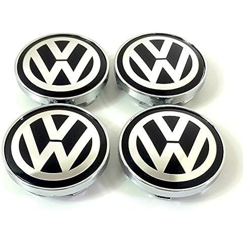 Set of 4Volkswagen Alloy Wheels Centre Hub Caps Cover Black Logo Badge 60mm Fits Juego de Volkswagen VW Llantas Center Tapacubos nabenabdeckung protectora Negro Logo nadadores 60mm Apto para Volkswagen Lupo Polo Golf Jetta Passat Scirocco Sharan y otros
