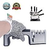 Messerschärfer Messerschleifer , Kitchen Knife Sharpener 4 in 1 +Schnittfeste Handschuhe(linke Hände, XL),Messerschleifmaschine 3-stufig Messer Schärfwerkzeug hilft Reparatur,Messer & Schere Schärfer