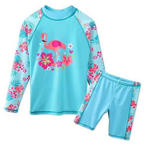 Jungen Schwimmen Badeanzug (HUAANIUE Mädchen Jungen Bademode 3-14 Jahre Badeanzug~Zweiteiler Langarm 50 + UV Kinder Schwimmsportbekleidung Sonnenschutz)