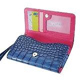 Di alta qualità a portafoglio in pelle custodia per Huawei Ascend G730-con porta carte di credito e tracolla rimovibile-coccodrillo/coccodrillo motivo-chiusura magnetica per facile accesso-(blu navy Plus interno rosa) + mini stilo touch screen