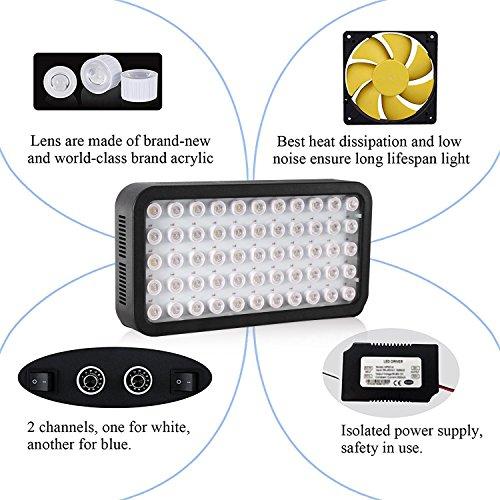 Roleadro 165w LED Aquariumbeleuchtung Dimmable für Fisch Riff Korallen Led Meerwasser Beleuchtung fur Fish Tank und Nano Aquarium 40x21x6cm Schwarz - 5