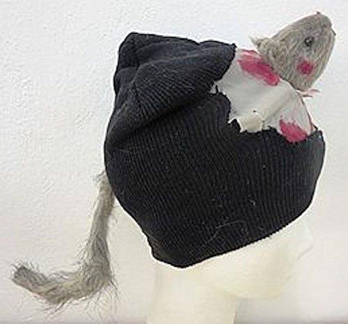 Karneval Kostüm Mütze mit Ratte schwarz-grau